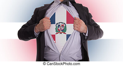 Business man with Dominican Republic flag t-shirt - Business...
