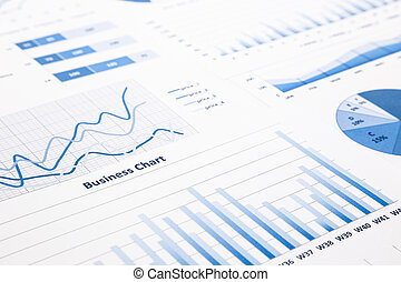 blue business charts, graphs, statistic and reports -...