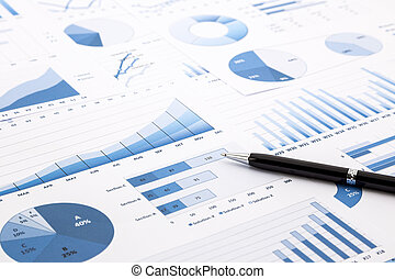 blue charts, graphs, data and reports - pen on blue charts,...