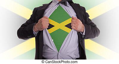 empresa / negocio, hombre, jamaica, bandera, Camiseta