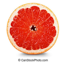 grapefruit - half a grapefruit on white background. Clipping...