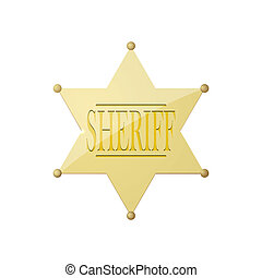 Shiny sheriff badge. Vector
