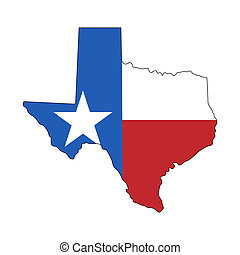 Texas map with flag isolated on white background Vector