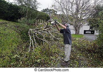 Storm damage - MANGONUI, NZL - JULY 09 2014:A man cutting a...