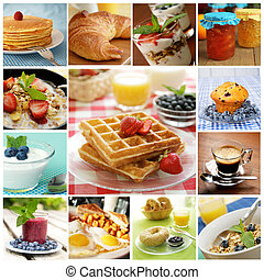 Breakfast collage - Collage showing delicious breakfast...