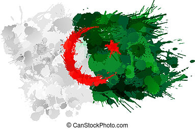 Algerian flag made of colorful splashes