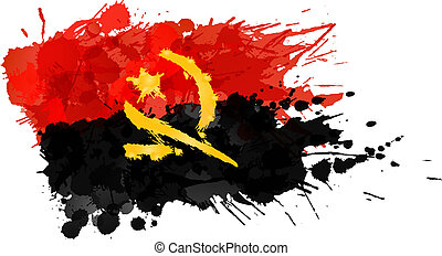 Flag of Angola made of colorful splashes
