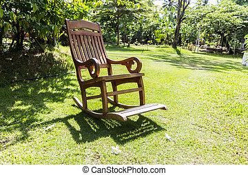 vacío, mecedor, pasto o césped, encima, silla