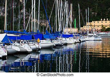 Yacht marina in Riva del Garda in Italy Lago di Garda,...