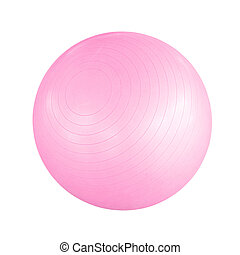 Pink pilates ball - Swiss ball isolated on a white...