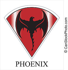 Black Phoenix with the Axe Wings - Phoenix over the red...