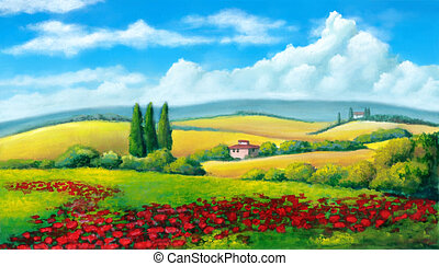 Summer landscape - Farmland in Tuscany, Italy. Original...