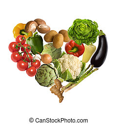 Vegetable heart isolated on white background