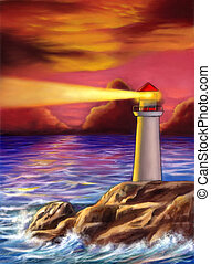 Sunset lighthouse - Lighthouse over a gorgeous sunset Mixed...