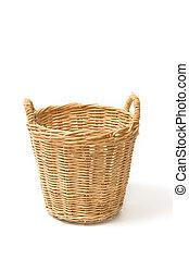 cesta, mimbre, aislado, vacío