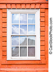 Sash window - Traditional wooden sash window in a historic...