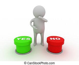 """3d man choosing between """"yes""""or """"no"""""""