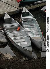 Aluminum canoes at Moraine Lake near Banff, Alberta.