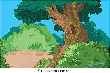 Tropical forest background - Cartoon tropical forest...