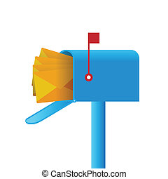 Mailbox - Vector illustration of a mailbox full of mails.