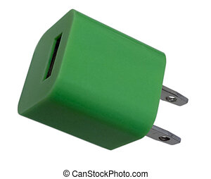 Green Power - Green charging USB power adapter, isolated on...