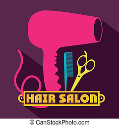 Hair salon over purple background,vector illustration