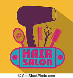 Hair salon over yellow background,vector illustration