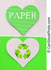 heart green corrugated paper and sign recycle. recycle paper...