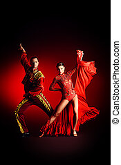 elegant dancer - Professional dancers perform latino dance....