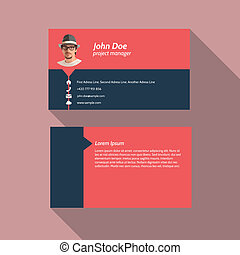 Modern simple light business card template - Flat Design -...
