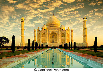 Taj Mahal - Beautiful Taj Mahal during sunrise with a nice...