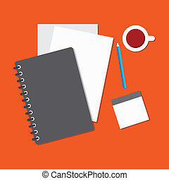 stationery with coffee