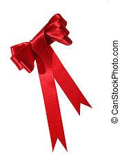Red satin ribbon bow