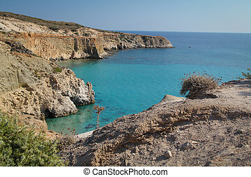 Tsigrado beach landscape in Milos island, Greece