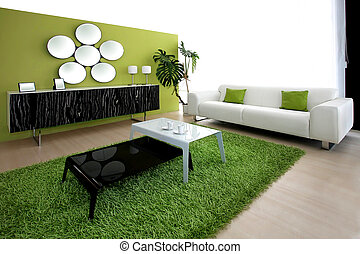 Green living room - Interior shot of contemporary green...