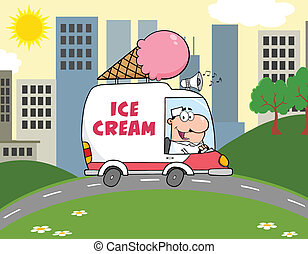Happy Ice Cream Man Driving