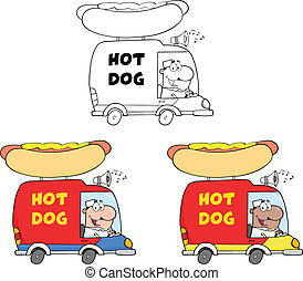 Hot Dog Trucks. Collection Set
