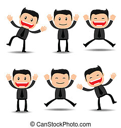 Set of businessman funny character