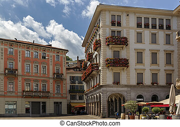 Lugano, Switzerland - Historic building in Lugano old city,...