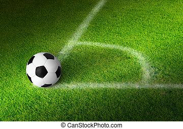 Soccer background - Soccer ball in corner of green soccer...