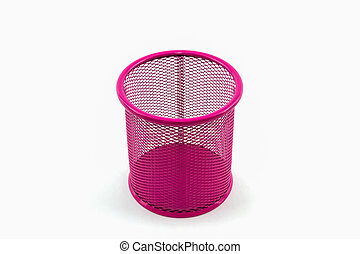 Closeup empty pink pail - Closeup empty pink pail on white...