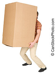 Young man bears the big box on a back - The young man bears...