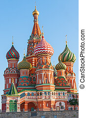 beautiful dome of St. Basil's Cathedral on Red Square in...
