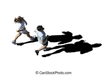Footing-jogging - Couple running together on a summer...