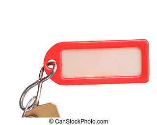Key ring - Red plastic keyring with label isolated over...