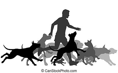 Running with dogs - Editable vector silhouettes of a man and...