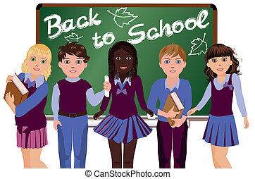 Back to School, Happy schoolkids