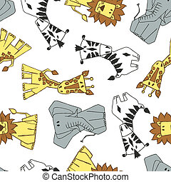 4 cute African animals in a seamless pattern