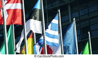Flag of the Greece waving surrounded by other countries...