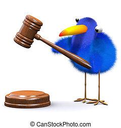 3d Bluebird runs an auction - 3d render of a blue bird with...